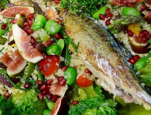 Mackerel with Rhubarb, Figs, Seasonal Vegetables and Cous Cous
