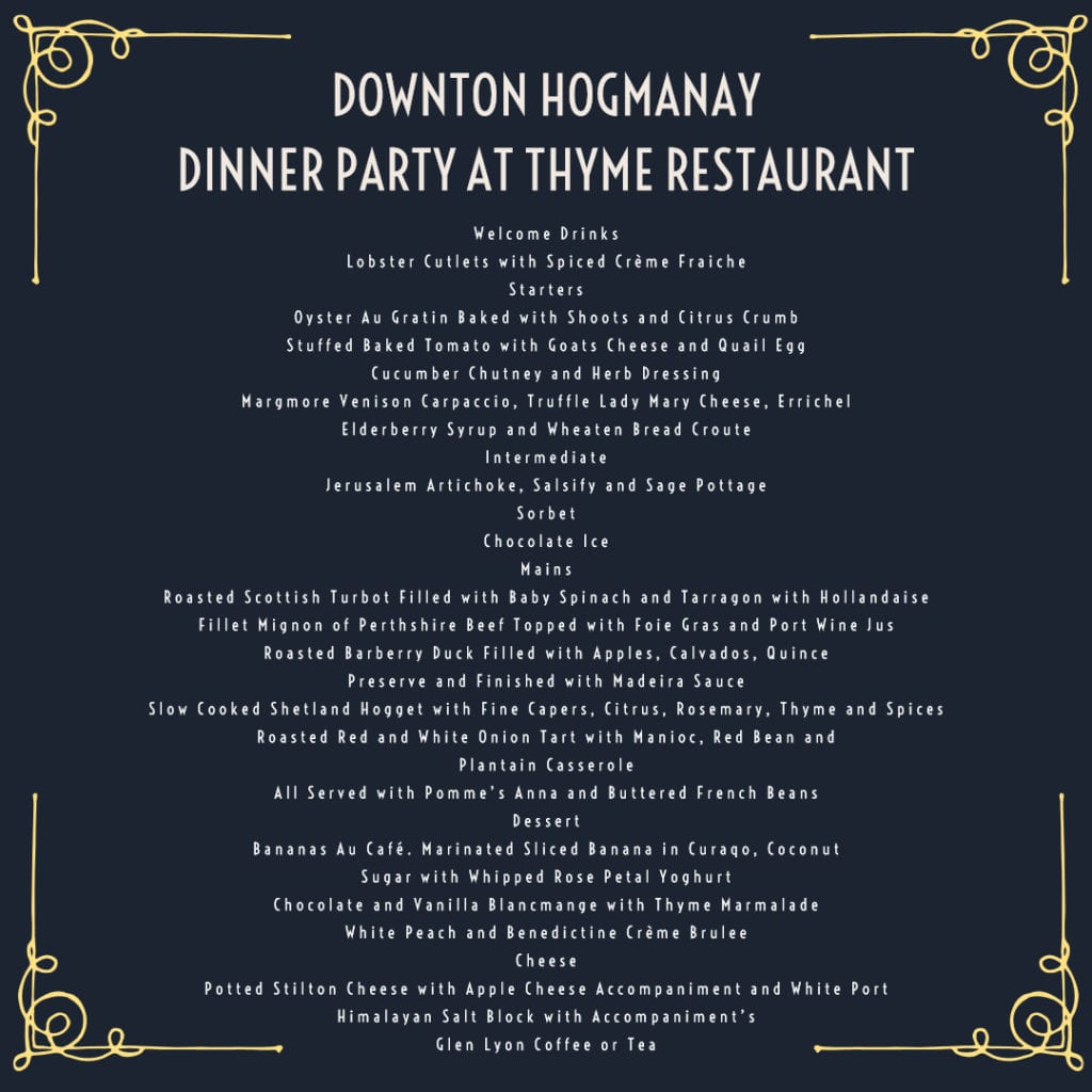 Downton Abbey inspired Menu