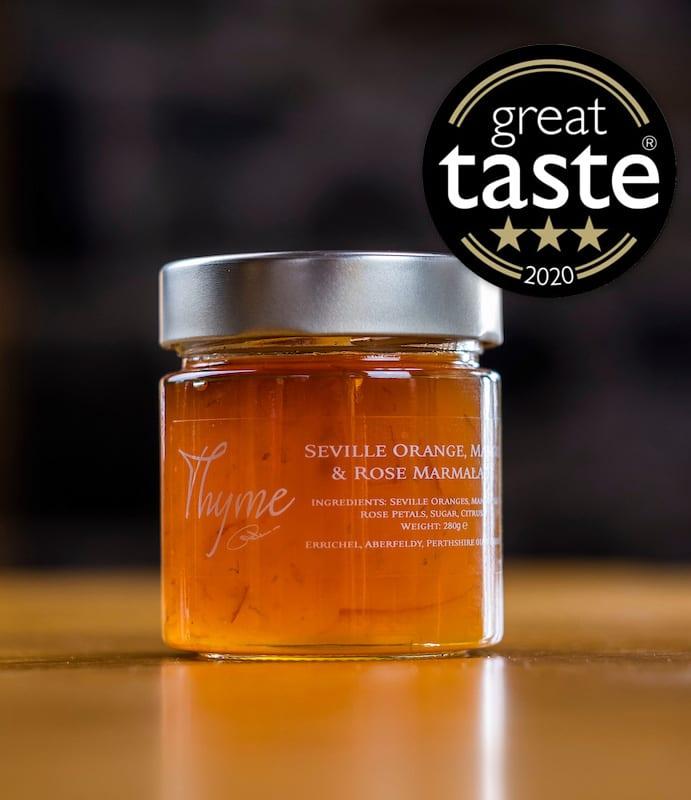 Seville Orange, Mango, Rose marmalade with great taste award.