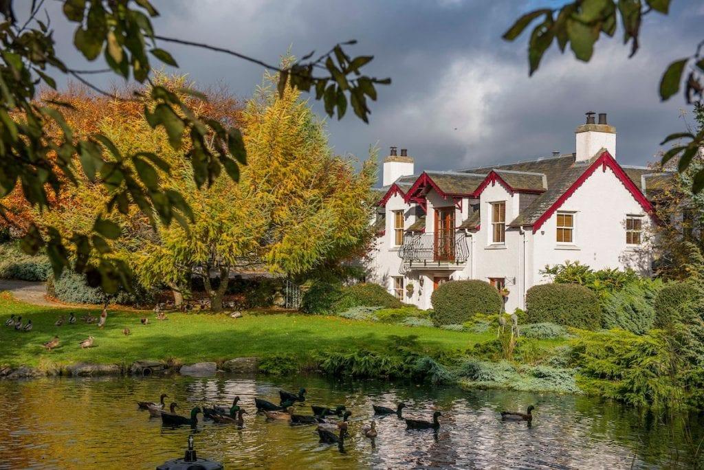 Duck pond at Errichel, accommodation in Aberfeldy