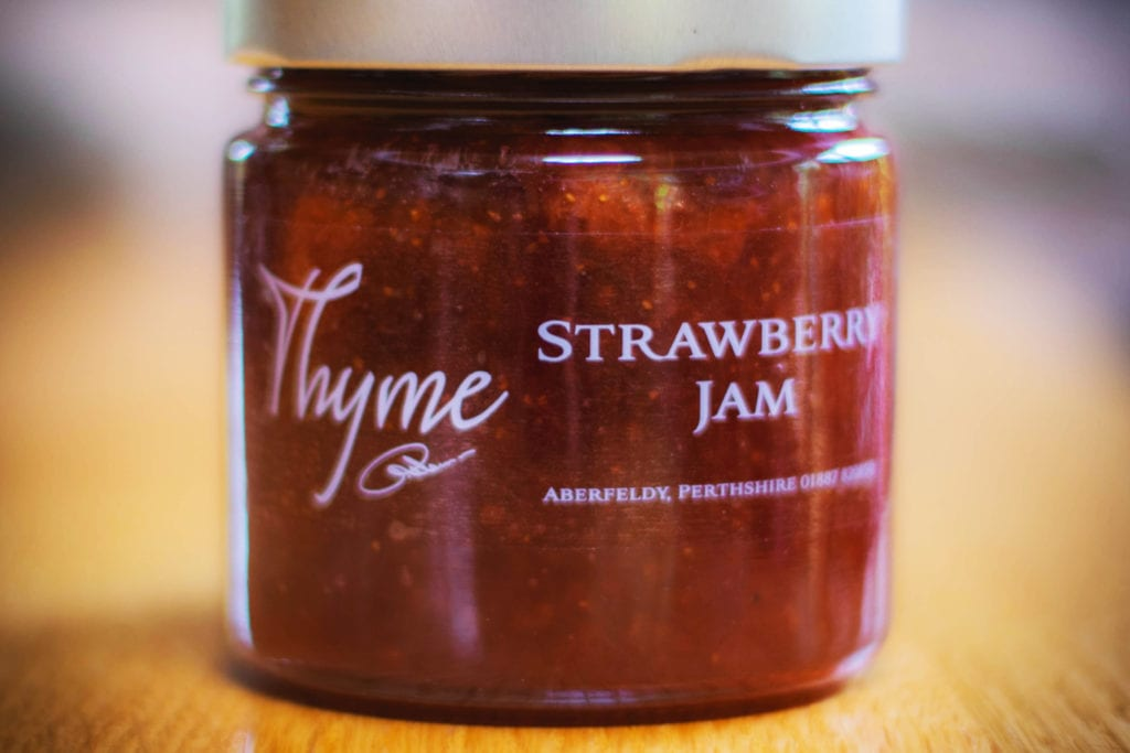 Delicious home-made strawberry jam, part of the experience of Errichel's afternoon tea in Aberfeldy