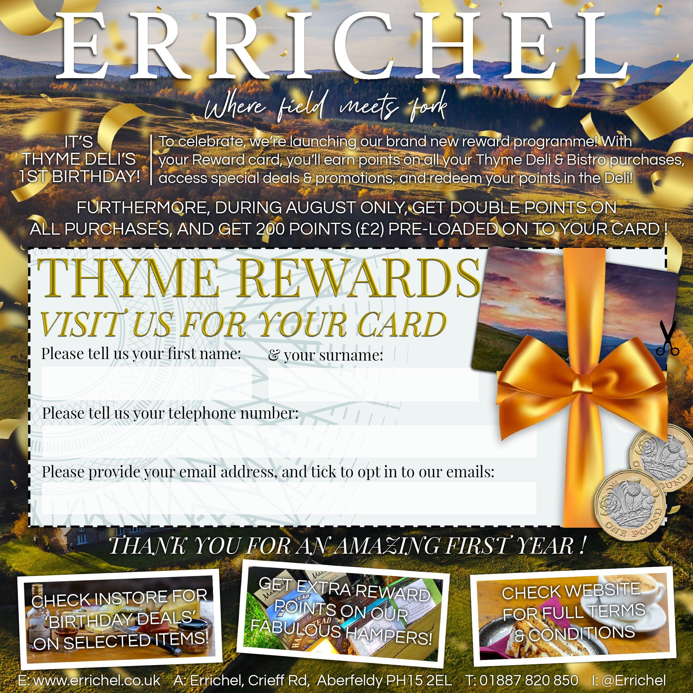 August 2021 Advertisement in the Quair - Thyme Reward loyalty programme at Errichel